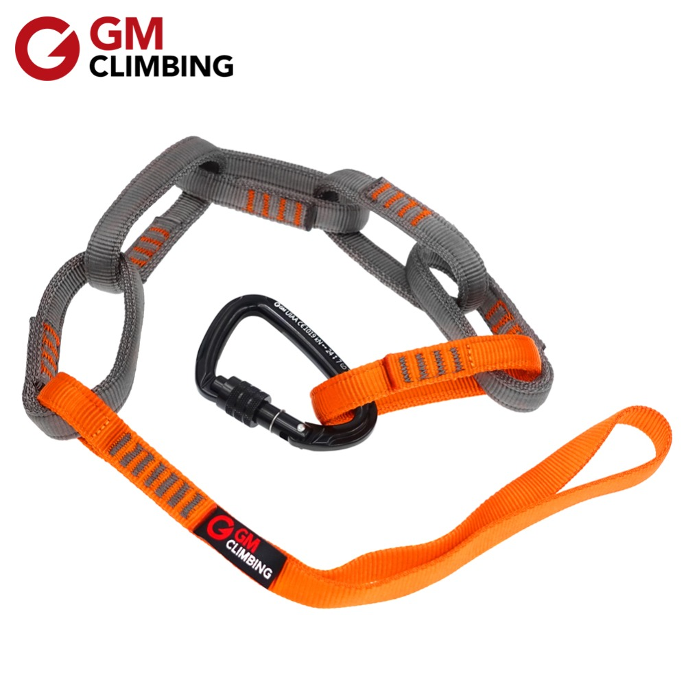 23kN 97cm Nylon Safe Chain & 24kN Carabner CE / UIAA 16mm Double Wrapped Climbing Sling For Personal Anchor System Hammock