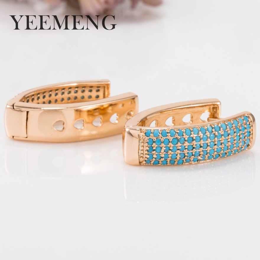 YEEMENG זהב צבע חישוק עגיל בצורת V סופר רחב מיקרו-משובץ כחול מלאכותי אבן עגילי אוזן אבזם גברת תכשיטים