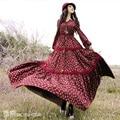 Boshow projeto Original primavera outono mulheres estilo Pastoral Floral Vintage imprimir Lace Up Casual magro Bohemian algodão vestido Maxi