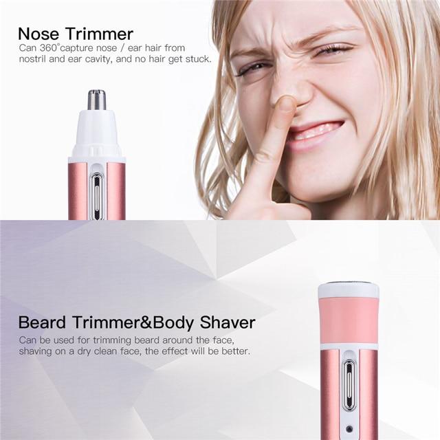 4 in 1 Lady Shaver Hair Removal Epilator Eyebrow Trimmer Rechargeable Painless Beard Nose Ear Trimmer Razor Women depilator 35 2