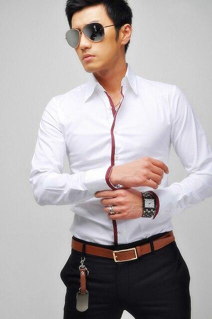 7ab627610ef Vestido de Boda de los hombres de Negocios Formales Camisas Blancas de  Manga Larga Slim Fit