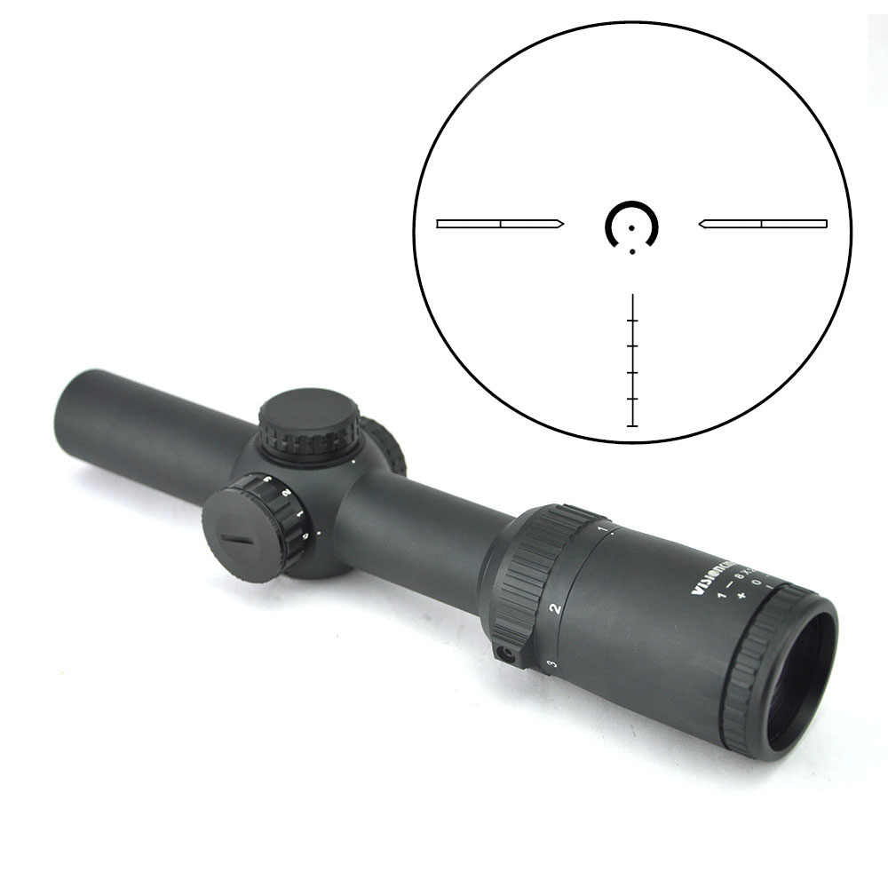 Visionking Optics 1-8x24 Lange Eye Relief Rifle Scope 1/10 MIL Low Profile Torentje Verlichte Dot