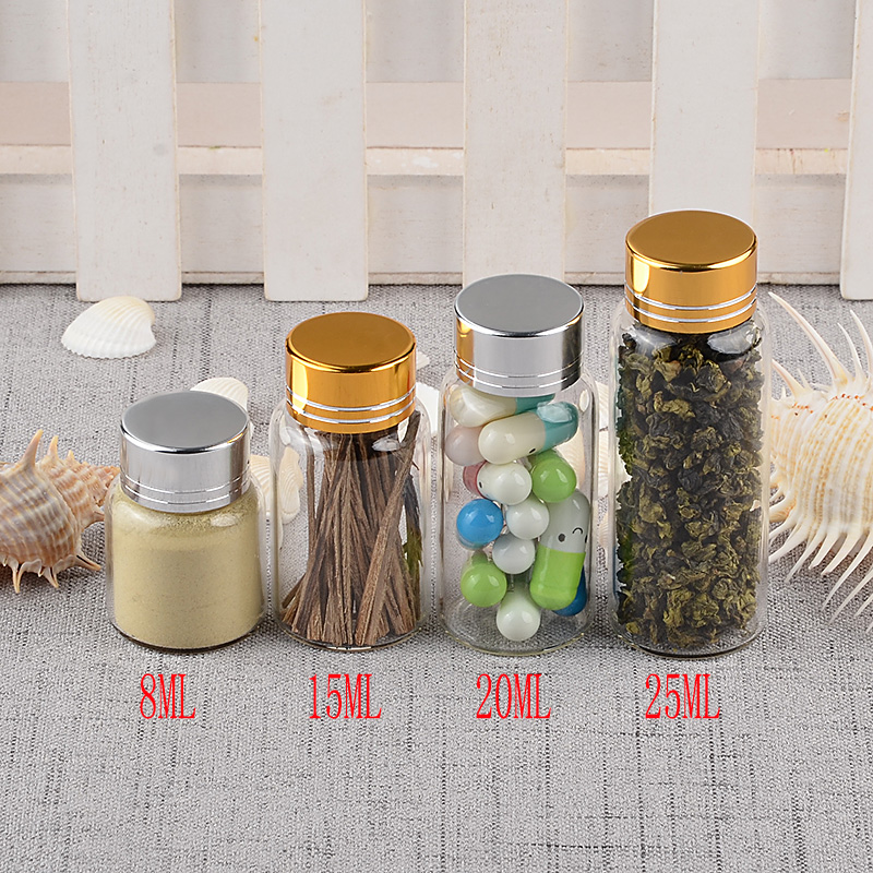 Empty Glass Bottles with Metal Screw Cap Pill Powder Ornament Bottles 8ml 15ml 20ml 25ml Liquid