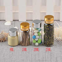 Empty Glass Bottles with Metal Screw Cap Pill Powder Ornament Bottles 8ml 15ml 20ml 25ml Liquid Food Saffron Jar Container 50pcs