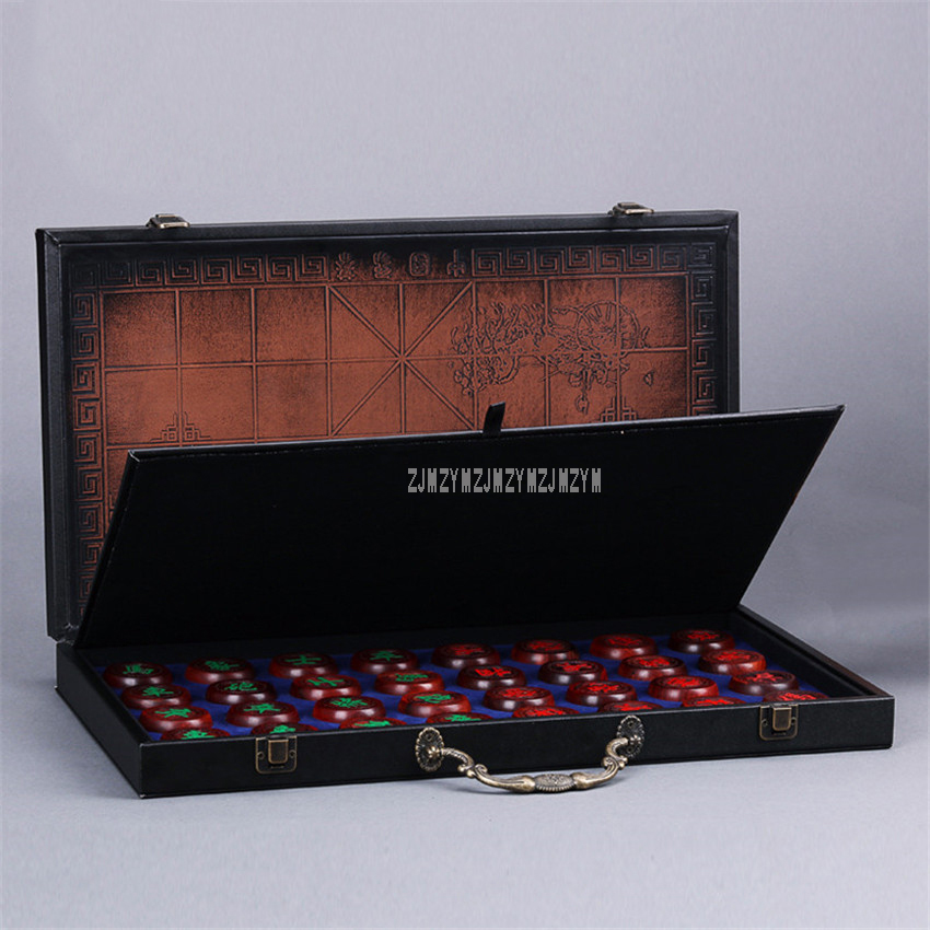 Top Quanlity African Rosewood Chinese Chess Set Foldable 32Pcs/Set Old Game of Xiang Qi International Checkers Educational Toy bstfamly chinese chess red wood fold box size 6 old game of go xiang qi international checkers folding toy gift no magnetic lc21
