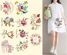 Big Size Iron On Rose Patches For Clothing Flower Patch Iron-on Transfers A-level Washable Stickers D1