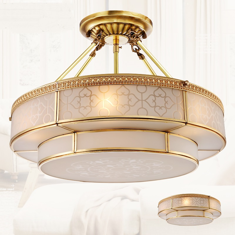 Copper Dome Light Continental Ceiling Bedroom Ceiling Light Restaurant Ceiling Light American Simple Entrance Hall ZA626 ZL149