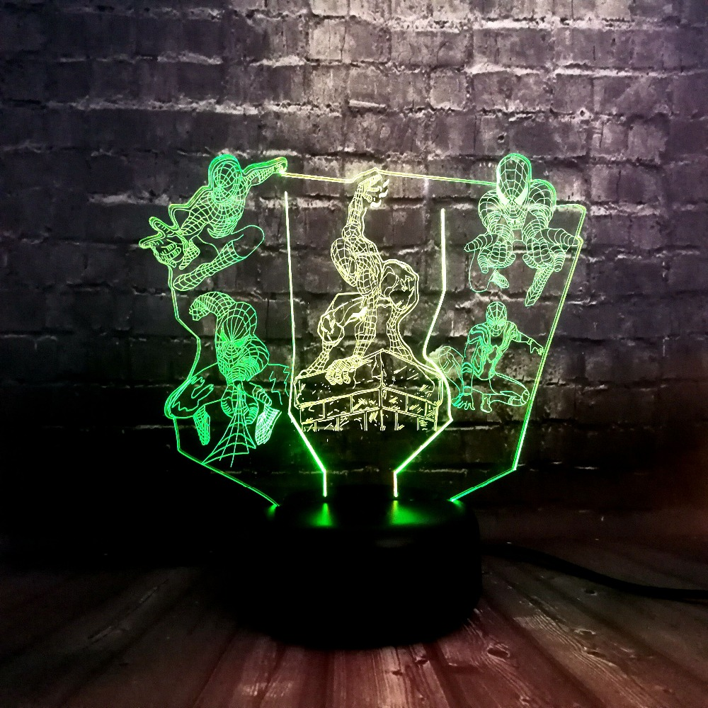 Creative Lava Marvel Spider Man Group Mixed Cook 7 Color USB Charge LED Baby Sleep Warm Night Light Boyfriends Holiday Fun GiftCreative Lava Marvel Spider Man Group Mixed Cook 7 Color USB Charge LED Baby Sleep Warm Night Light Boyfriends Holiday Fun Gift