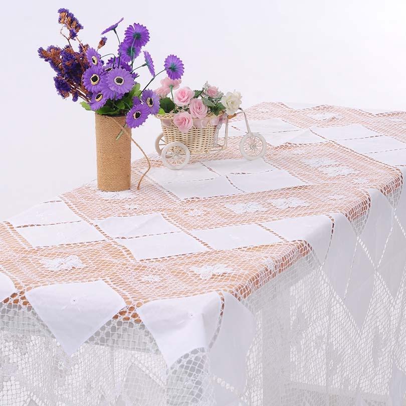 QUNYINGXIUトスカーナレーステーブルクロス手作りかぎ針編み牧歌ヨーロッパスクエアテーブルカバーロングテーブルクロス72 * 72インチ= 183 * 183 cm