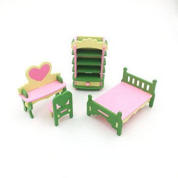 1:12 Dollhouse Miniature Furniture Wooden Creative Bathroom Bedroom Restaurant For Kids Action Figure Doll House Decoration Doll - 90541
