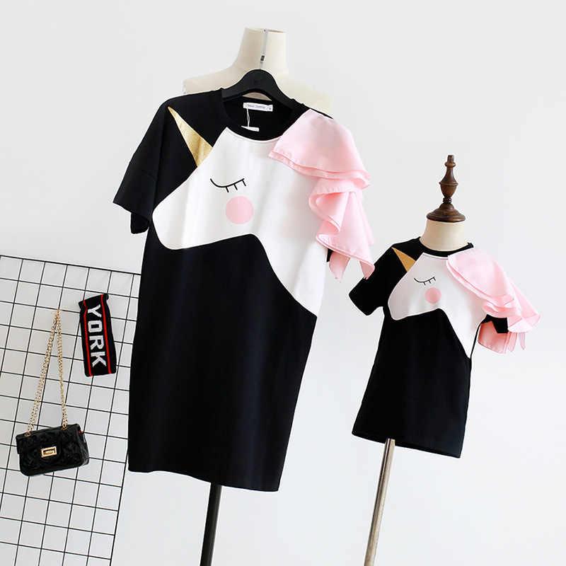 Платье с единорогом для мамы и дочки, одинаковые платья для мамы и дочки, одежда для мамы и дочки, unicornio
