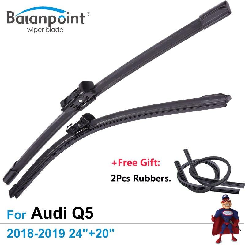 2Pcs Wiper Blades + 2Pcs Free Rubbers For Audi Q5 2018