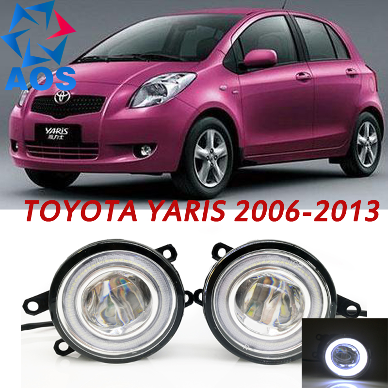 For Toyota Yaris 2006-2013 Car Styling LED Angel eyes DRL LED Fog lights Car Daytime Running Lights auto fog lamp with bulbs set fog lights lamp for toyota yaris senda 2006 belta vios 2007 clear lens pair set wiring kit fog light set