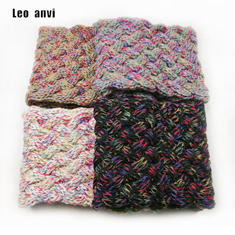 Leo Anvi Multicolor Ring Scarf Women Knitting Woolen Weave Crochet Scarf Infinity Winter Tube Scarf Hecklace Ladies Scarf Luxury