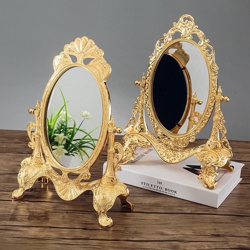 European Tabletop Mirror Metal Art Craft Vintage Home Decoration Mirror Frame Bedroom Make Up Cosmetic Mirror Wedding Decor Gift