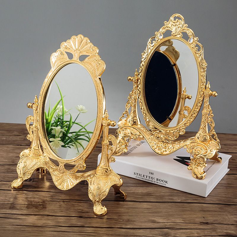 Decorative Table Top Mirrors.Us 41 4 40 Off European Tabletop Mirror Metal Art Craft Vintage Home Decoration Mirror Frame Bedroom Make Up Cosmetic Mirror Wedding Decor Gift In