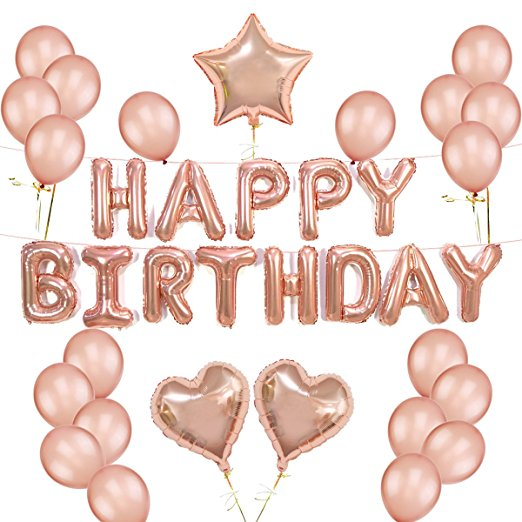 1Set HAPPY BIRTHDAY Ballon Lettre Rose Gold Star Heart Latex Balloons For Birthday Decorations Globos Party Supplies In Ballons Accessories From