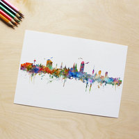 Barcelona Wall Hanging Colorful Pictures Paper Art Gift Spain Barcelona City Skyline Wall Art Poster Skyline