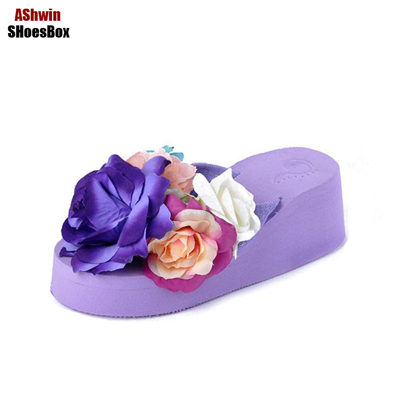 woman shoes wedge platform beach slippers rose purple shoes mules 2017 flower flip flops bohemia thong slippers floral sandals