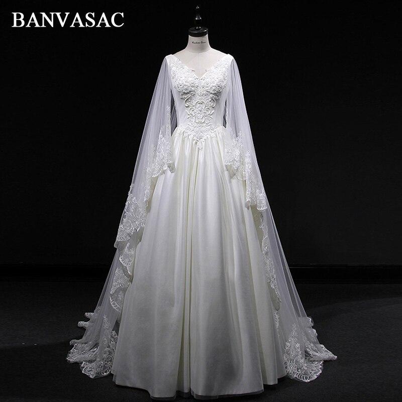 Vintage Lace Gothic Overskirts Wedding Dresses 2018 Plus: BANVASAC 2018 Vintage Real Photos V Neck A Line Satin