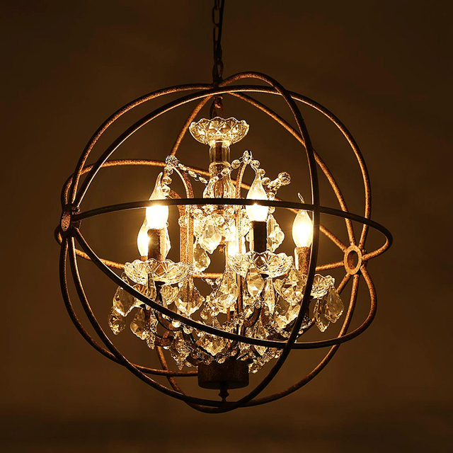 Retro rust iron cage chandeliers e14 big style crystal lustre led lamp 4 5