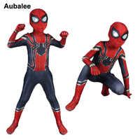 เหล็ก Spiderman เครื่องแต่งกายเด็กซูเปอร์ฮีโร่ Zentai Suit Spider - man Homecoming Cosplay เด็กฮาโลวีนเครื่องแต่งกาย Party ชุด