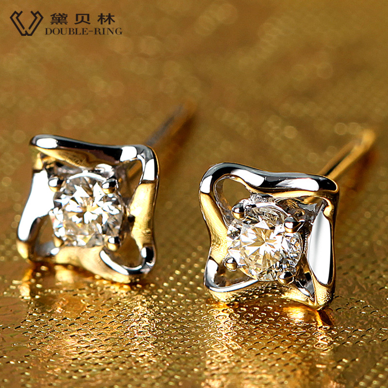 DOUBLE-R Genuine Diamond Real Solid Pure White Gold 18k Diamond Earrings 18k Stud Earrings For Girls браслет на ногу other 18k