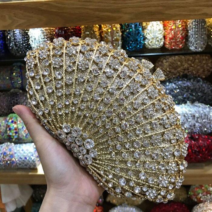 Champagne Diamond  Metal Minaudiere Handbag & Purse Women Hollow Out Crystal Evening Wedding Party Clutches Bag Bolsa De Boda
