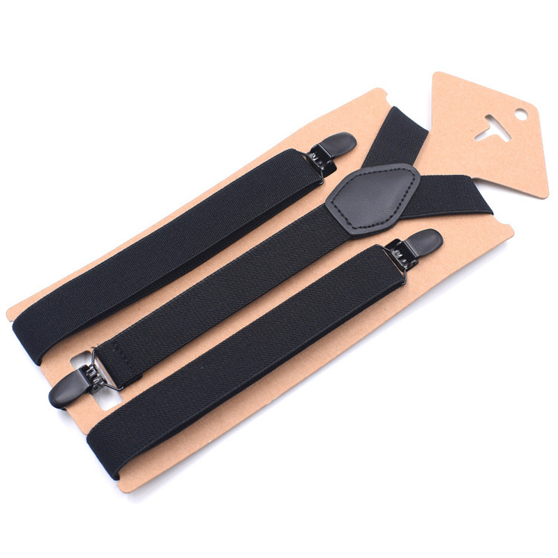 New Man's Suspenders Girl's Braces Set Black Leather Male Vintage Casual Suspensorio Trousers Strap Fashion Suspenders