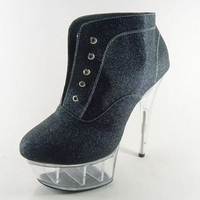 Dance Shoes Sexy 15 cm transparent spareribs, super high with crystal single shoes, princess PROM shoes