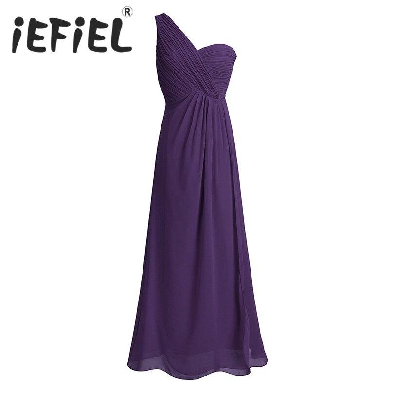 iEFiEL Women Ladies Chiffon One-shoulder Split Slit Bridesmaid Wedding Summer Dress Floor Length Prom Formal Occasion Dresses