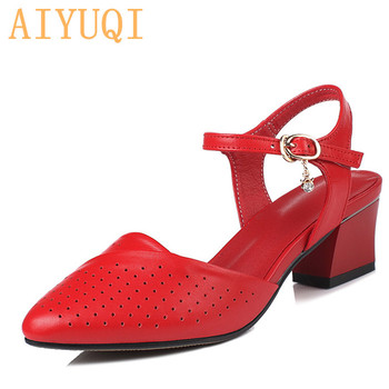 AIYUQI Women shoes sandals summer 2020 new genuine leather women Pointed fashion wedding red Hole dress