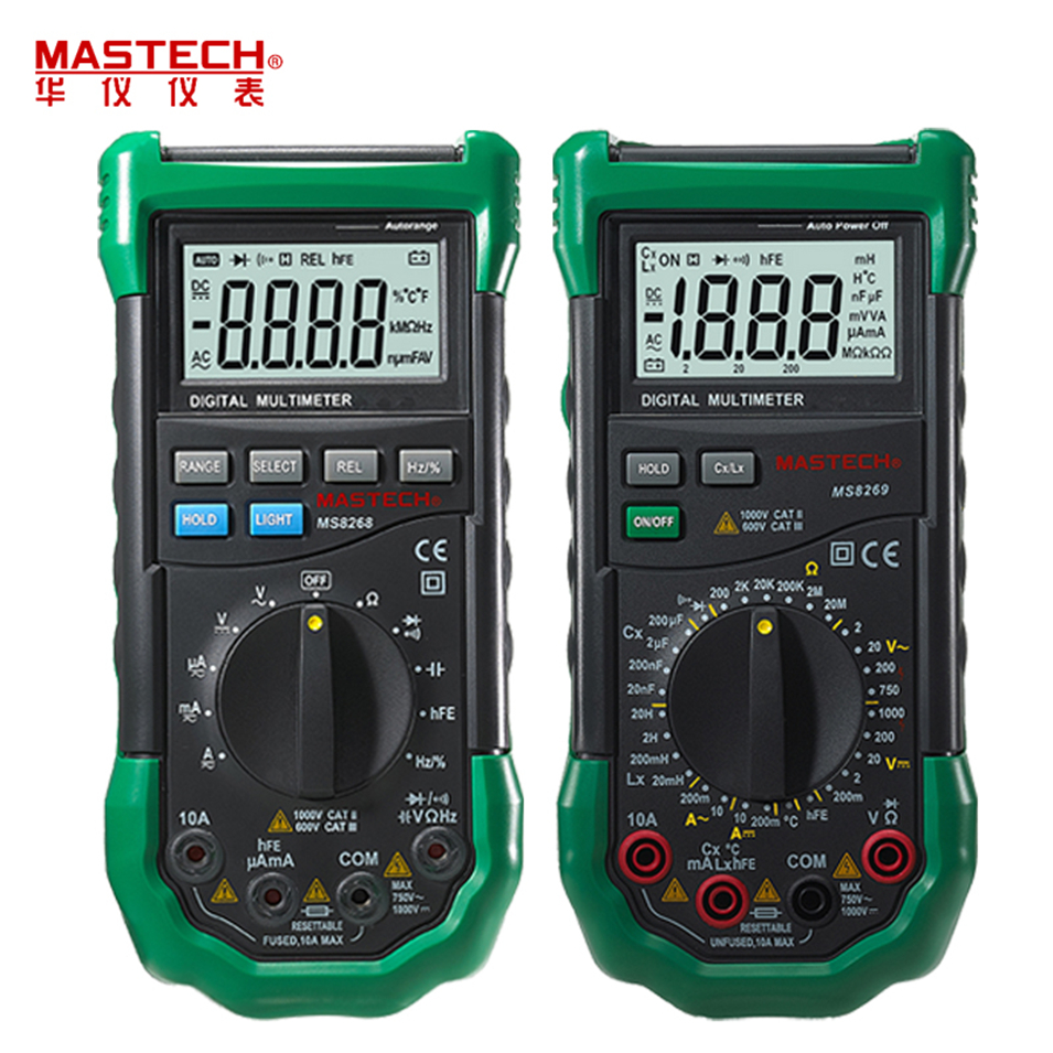 Mastech MS8264 MS8265 MS8268 MS8269 Digital Multimeter LCR Meter AC/DC Voltage Current multifunctionTester Inductance Detector mastech ms8260e digital multimeter lcr meter ac dc voltage current capacitance inductance tester with non contact voltage test