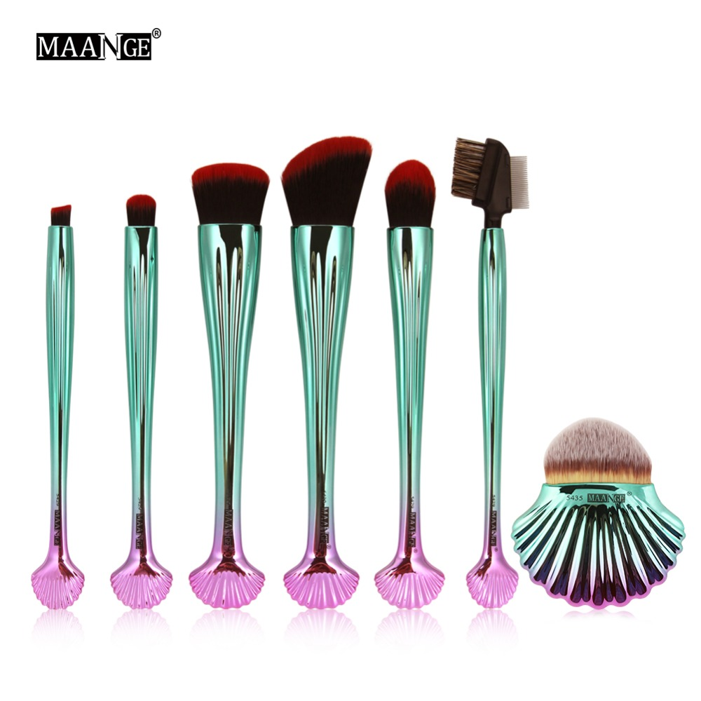 MAANGE 7Pcs/set Shell Makeup Brushes Cosmetic Foundation Power Contour Blush Eye Shadow Brow Lip Beauty Make Up Brush Tool Kits patch pocket curved hem belted dress