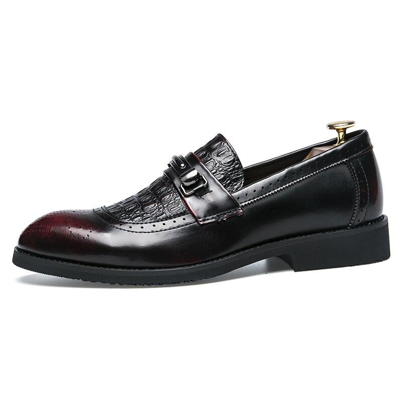 Sapatos Homens Couro Casuais Oxford vermelho Apontou De Britânico Estilo Lace Dos Plano Masculino Masculinos Negócios Com Lazer Vinho up Moda Preto EwBCqX