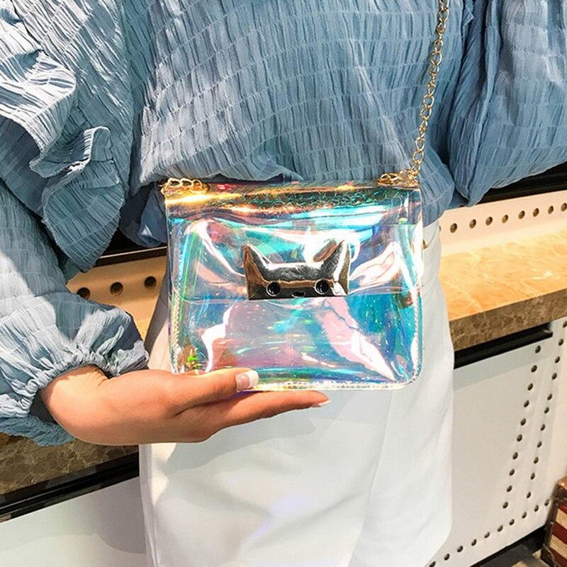 NIBESSER Kawaii Cat Bag Transparent PVC Clear Handbag Laser Hologram Chains Crossbody Bags For Women 2018 Sac Femme Mini Flap