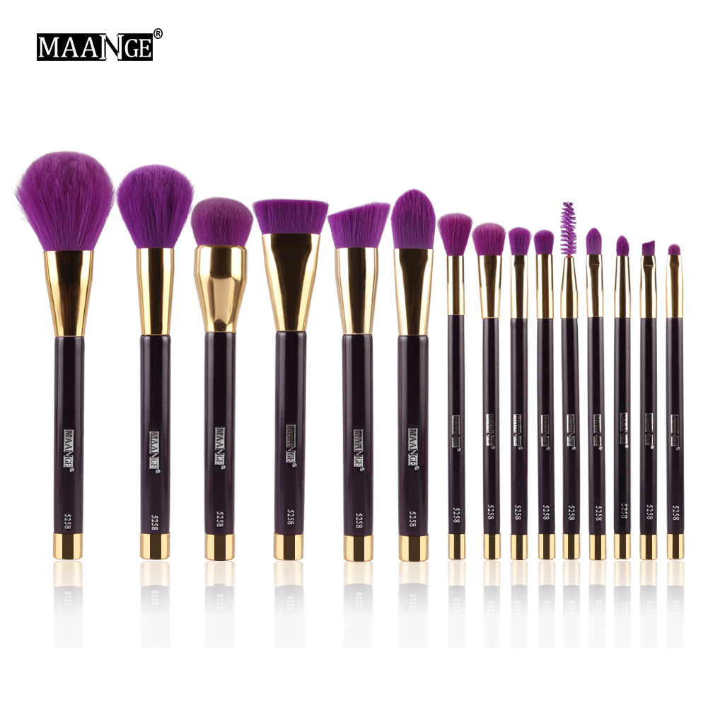 MAANGE 15pcs Makeup Brushes Set Foundation Powder Eyeshadow Eyeliner Lip Contour Concealer Smudge Brush Kit Purple High Quality maange 12pcs professional makeup set powder eyeshadow palette highlight concealer pen makeup brush set with bag maquillage