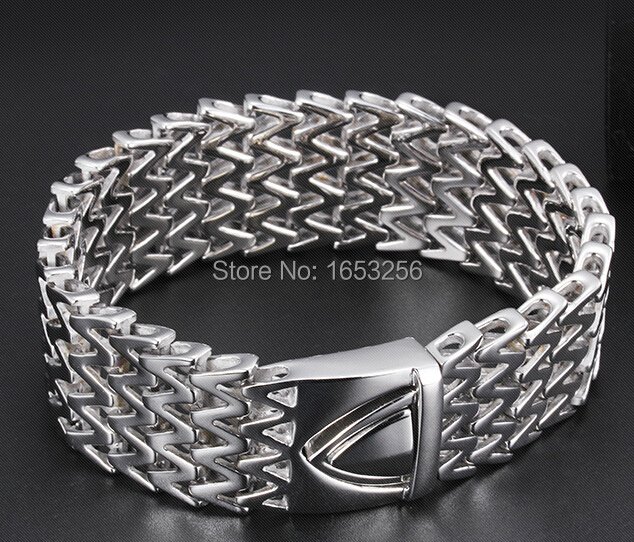 8 8 25mm wide High Quality Men s Chunky Link chain Bracelet Biker Bangle Stainless Steel