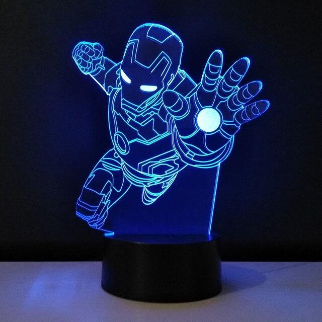3D LED Tischleuchte Iron Man kinder beleuchtung Farben Ändern ...