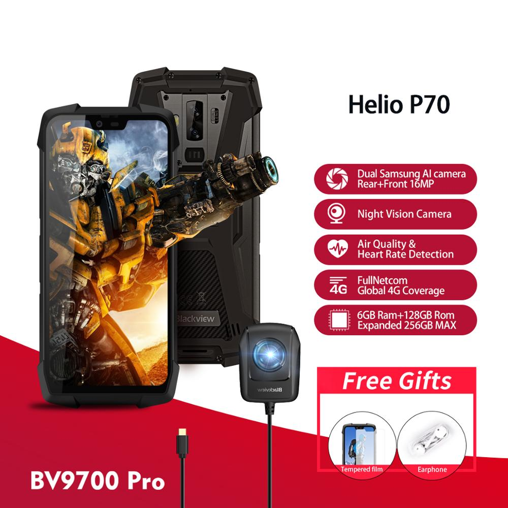 Blackview BV9700 Pro IP68/IP69K téléphone portable robuste Helio P70 6GB 128GB Android 9.0 Smartphone 16 + 8MP Vision nocturne double caméra
