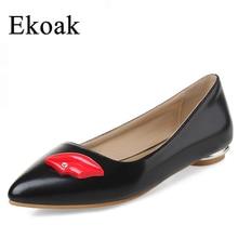 Ekoakขนาด33-44ใหม่2016แฟชั่นฤดูใบไม้ร่วงของผู้หญิงแฟลตเลดี้เซ็กซี่แหลมToe Rhinestoneริมฝีปากสีแดงงานแต่งงานหนังรองเท้าผู้หญิง