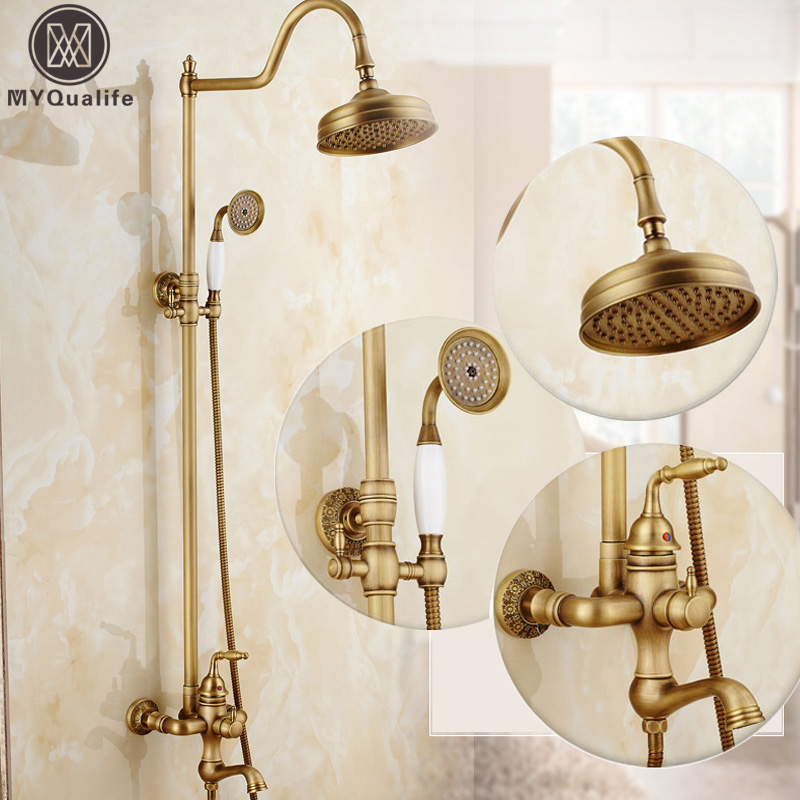 Retro Brass In-wall Bath Shower System Single Handle Rotate Tub Filler Antique Shower Faucet Set with Handshower