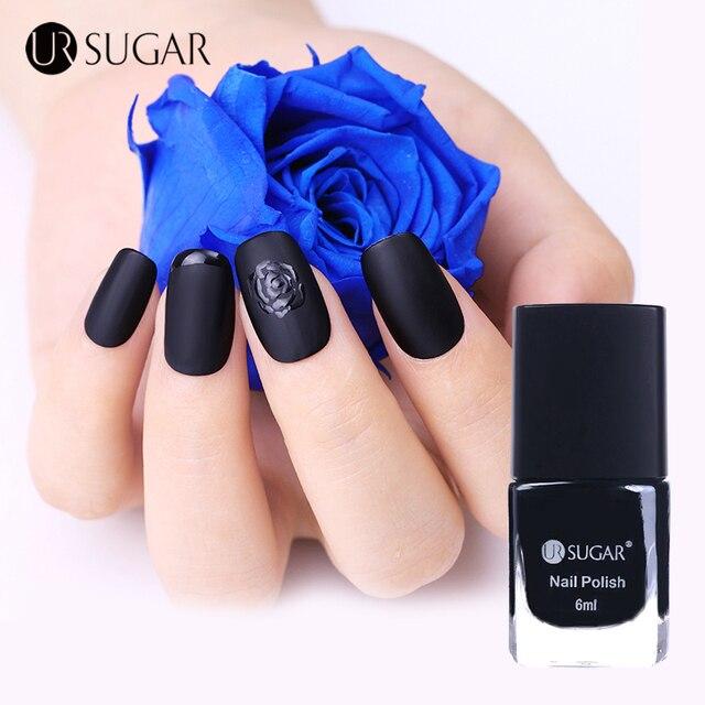 Ur azúcar negro mate Esmaltes de uñas sin brillo manicura Manicura ...