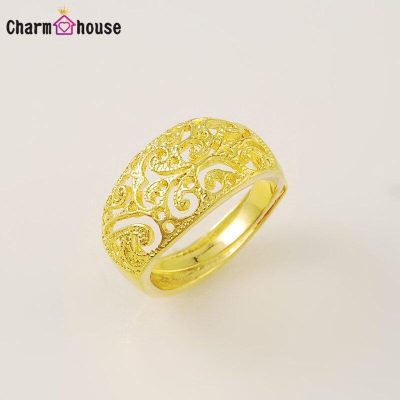 Винтаж узор вокруг кольца для Для женщин твердого желтого золота Цветные кольца Модные украшения обещание Обручение кольцо для Обувь для д...