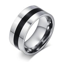 Free Custom Engraving 9mm Two Tone 316L Stainless Steel Wedding Rings with Black Enamel Design