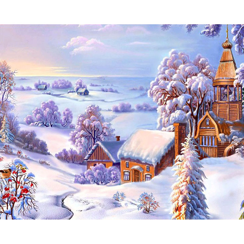 diy 5d diamond embroidery landscape winter scenery cross