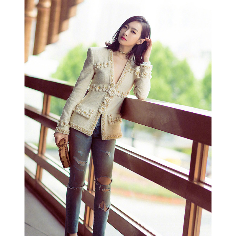 tweed jacket coat with flower runway jackets coat women autumn winter 2019 new arrivals high quality white beige color