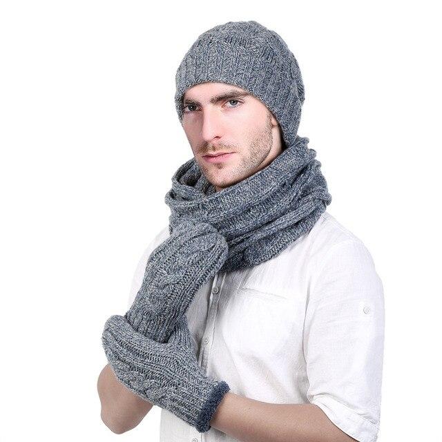 VBIGER 4 pz Uomini Sciarpa A Maglia Set con Berretti Guanti di Sesso  Maschile Cappello di 489b98d3c970