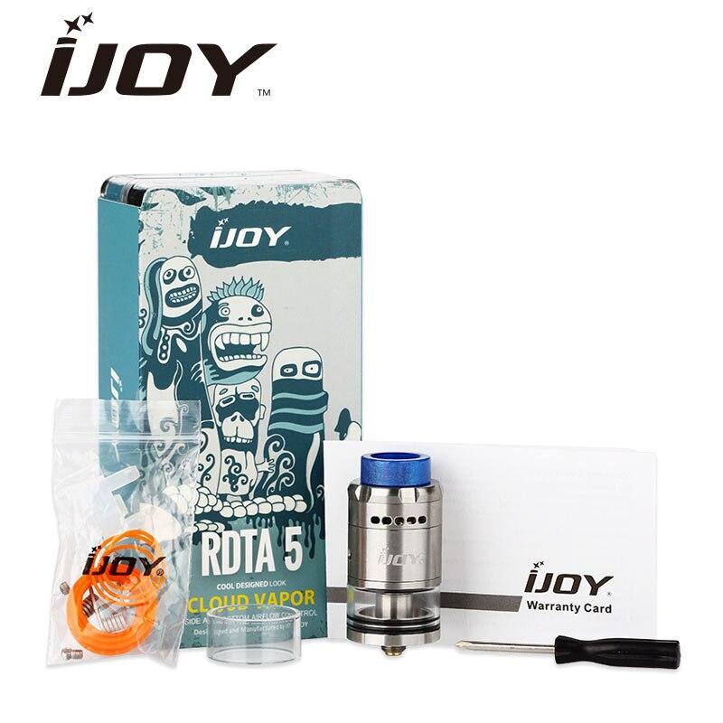 Originale IJOY RDTA 5 Capacità Serbatoio 4 ml E-cig Atomizzatore con Resina Drip Tip Top Riempimento Lato e basso Flusso D'aria Regolabile Serbatoio Vape