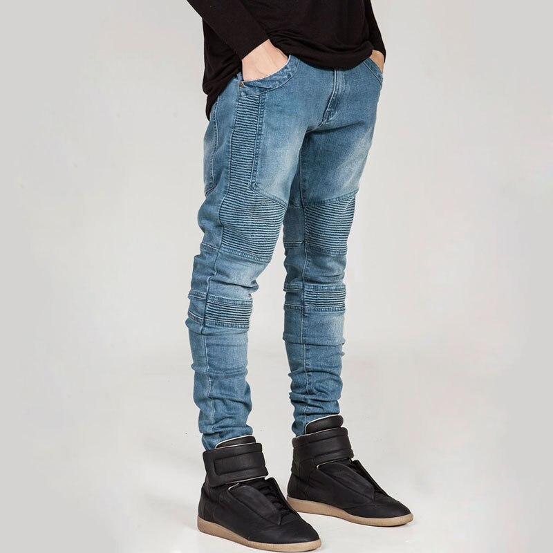 2bbdb2e674047 2017 Nueva BIKER Jeans hombre Locomotora Retro Delgado pantalones Diseño de  la Cremallera Falsa Moda Skinny Jeans Pantalones Lápiz Pantalones de  Mezclilla ...